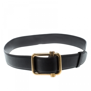 Saint Laurent Dark Brown Leather Buckle Belt 90cm