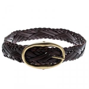 Saint Laurent Brown Woven Leather Belt 90CM
