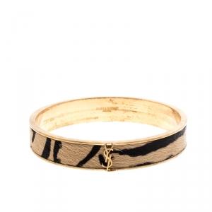 Saint Laurent Paris Animal Print Hair Gold Tone Wide Bangle Bracelet