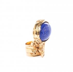 Saint Laurent Arty Blue Glass Cabochon Gold Tone Ring Size 50