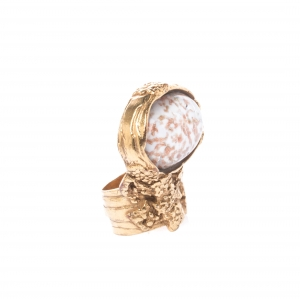 Saint Laurent Arty White Glass Cabochon Gold Tone Ring Size 52
