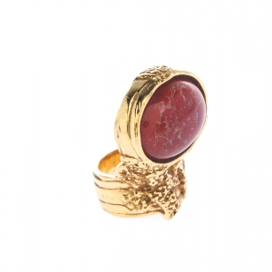 Saint Laurent Arty Red Glass Cabochon Gold Tone Ring Size 54.5