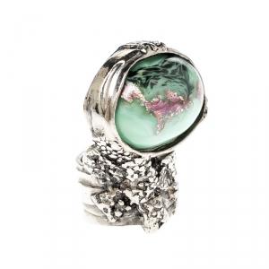 Saint Laurent Paris Arty Green Glass Cabochon Silver Tone Ring Size 49