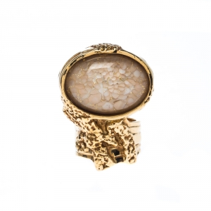 Yves Saint Laurent Arty Beige Cabochon Gold Tone Ring Size 54.5