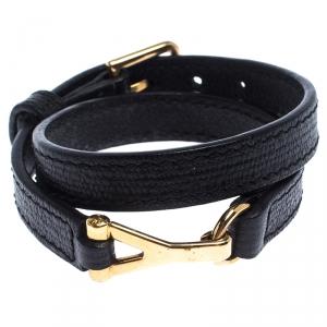 Saint Laurent Black Leather Chyc Wrap Around Bracelet 15 cm