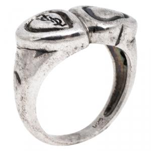 Saint Laurent Paris Sterling Silver Double Heart Ring Size 52