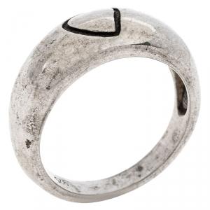 Saint Laurent Paris Sterling Silver Heart Engraved Ring Size 58