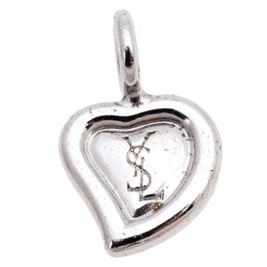 Saint Laurent Paris Sterling Silver Heart Shaped Pendant