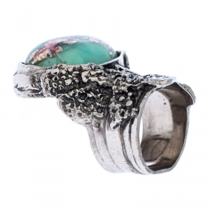 Saint Laurent Paris Arty Green Glass Cabochon Silver Tone Ring Size 53