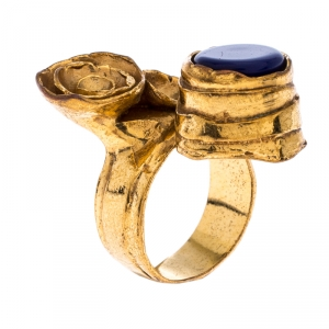 Saint Laurent Paris Arty Flower Blue Resin Gold Tone Ring Size 54.5