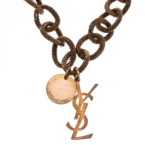 Yves Saint Laurent Paris Logo Rose Gold Tone Chain Link Toggle Necklace