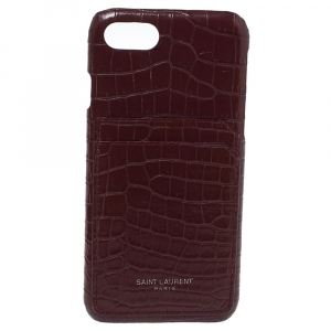 Saint Laurent Paris Burgundy Croc Emossed Leather iPhone 8 Case