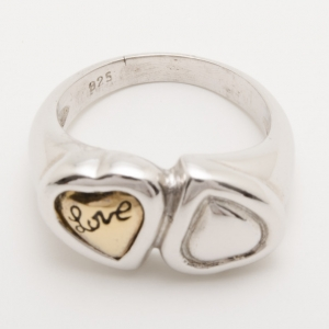 Yves Saint Laurent Contrarie Heart Love Silver Ring Size 54