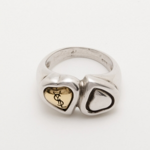 Yves Saint Laurent Contrarie Heart Love Silver Ring Size 52