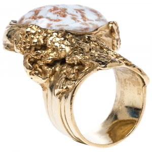 Yves Saint Laurent Glass Cabochon Arty Ring Size EU 54.5