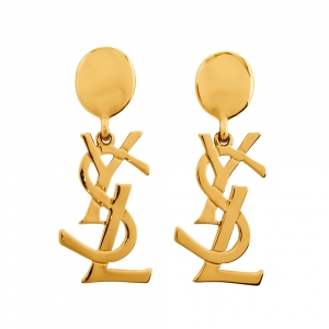 Yves Saint Laurent Vintage Iconic Logo Clip On Earrings