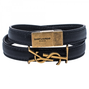 Saint Laurent Paris Opyum Black Leather Gold Tone Double Wrap Bracelet