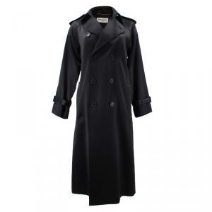 Saint Laurent Paris Black Long Trench Coat S