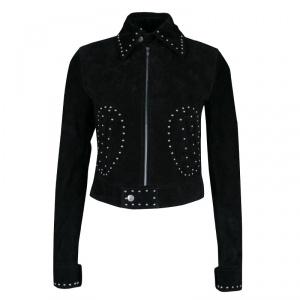 Saint Laurent Black Calf Suede Studded Biker Jacket S