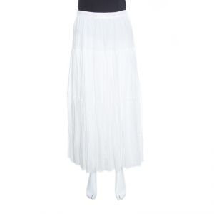Saint Laurent Paris White Crinkled Cotton Tiered Midi Skirt L