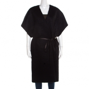 Saint Laurent Paris Black Angora Wool Belted Short Sleeve Kimono Coat L
