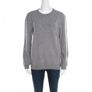 Saint Laurent Paris Grey Distressed Wool and Cashmere Crew Neck Sweater L - used