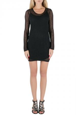 Saint Laurent Paris Black Perforated Knit Mesh Long Sleeve Dress S - used
