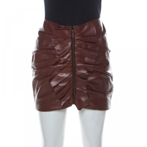 Saint Laurent Paris Brown Leather Ruched Ruffle Detail Mini Skirt S
