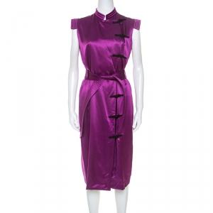 فستان سان لوران إيف حرير بنفسجي ياقة ماندرين بحزام