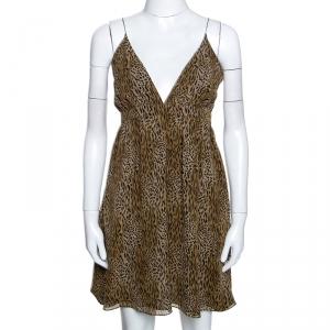 فستان سان لوران باريس ميني بلا أكمام طباعة حيوان حرير M