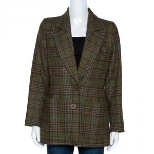 Yves Saint Laurent Rive Gauche Vintage Green Plaid Wool Blazer M