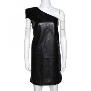 Saint Laurent Paris Black Leather One Shoulder Dress M - used