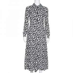 Saint Laurent Paris Monochrome Star Print Crepe Midi Dress M - used