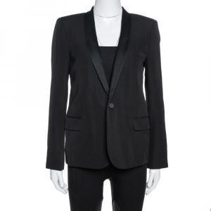 Saint Laurent Paris Black Wool Tuxedo Blazer M