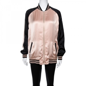 Saint Laurent Paris Champagne Pink Oversized Teddy Baseball Jacket M