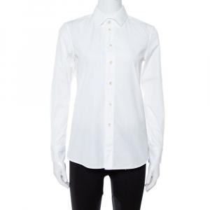 Saint Laurent Paris White Cotton Long Sleeve Shirt S
