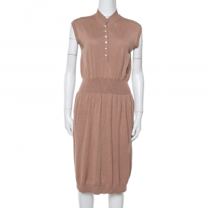 Yves Saint Laurent Chestnut Brown Wool Knit Sleeveless Dress L