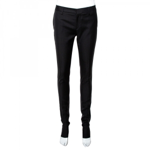 Saint Laurent Paris Black Wool Tailored Trousers S