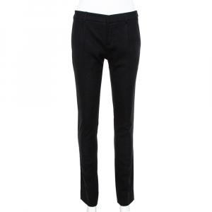 Saint Laurent Paris Black Wool Crepe Tailored Trousers S