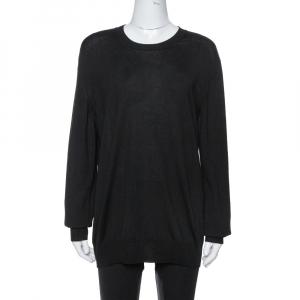 Saint Laurent Paris Black Wool Crew Neck Sweater XXL