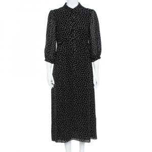 Saint Laurent Paris Black/White Silk Lavalliere Neck Dress M - used