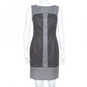 Saint Laurent Paris Grey Wool Paneled Sleeveless Sheath Dress M