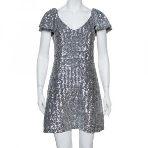 Saint Laurent Paris Silver Sequin Embellished Flutter Sleeve Dress M - used