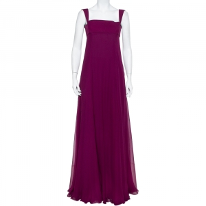 Yves Saint Laurent Edition Soir Purple Silk Chiffon Sleeveless Gown S used
