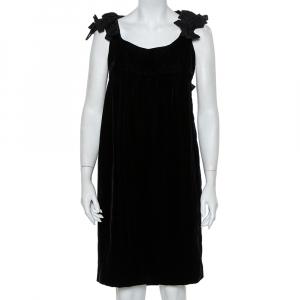 Yves Saint Laurent Black Velvet Bow Trim Detail Shift Dress S - used