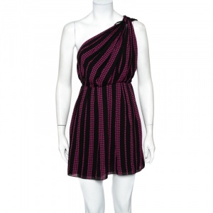 Saint Laurent Paris Black Star Printed Chiffon One Shoulder Mini Dress M - used