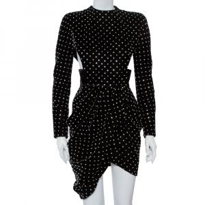 Saint Laurent Paris Black Velvet Crystal Embellished Cutout Detail Faux Wrap Mini Dress M - used
