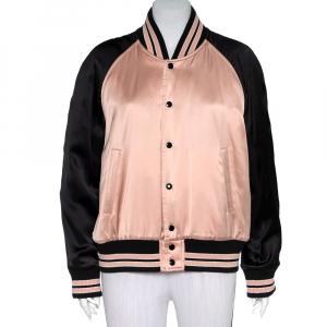 Saint Laurent Paris Black & Pink Satin Button Front Bomber Jacket L