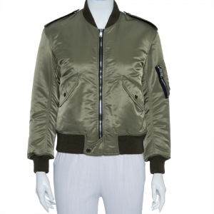 Saint Laurent Paris Military Green Synthetic Bomber Jacket M