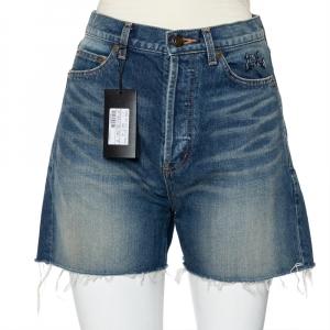Saint Laurent Paris Navy Blue Denim Frayed Hem Shorts M - used